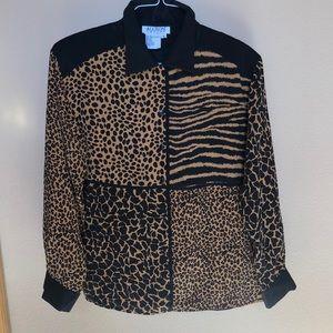 Animal print silk with shoulder pads women shirt